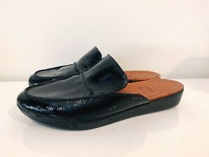 Fitflop Women's Black Serene Leather Mules Shoes Size 8 Us Slip-on