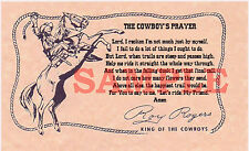 "Western Roy Rogers ""King of the Cowboys"" Cowboy's Prayer Card 4"" X 6 3/4"""