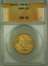 1899 Liberty Gold Eagle $10 Coin ANACS MS-62