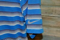 NIKE GOLF DRI-FIT Men's S/S Polyester Polo Shirt Blue Striped Size Large
