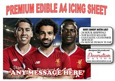 Liverpool Front 3 Attackers PERSONALISED A4 ICING Edible Cake Topper Birthday