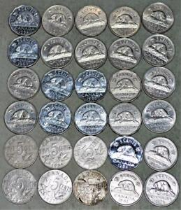 Canada 5 Cents Nickel Lot of 30 Coins - Some High Grade