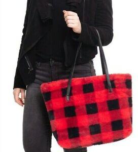 RED & BLACK BUFFALO PLAID FURRY XL TOTE BAG FAUX LEATHER STRAPS NWT