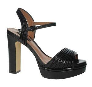 LUCIANO BARACHINI CC233V scarpe sandali donna pelle tacco zeppa plateau nero
