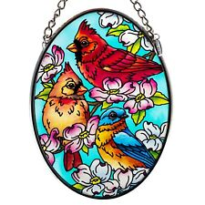 Cardinal Pair & Bluebird Suncatcher Hand Painted Glass Amia Studios 4.5 x 3.25""