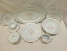 DINNERWARE SET PORCELAIN CHINA Co SERVICE FOR 8 45pcs Scalloped Floral PATTERN