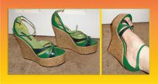 New Michael Antonio green summer platform shoes sz 8 cork heel look faux leather