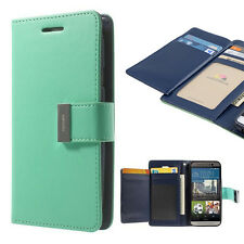 Korean Mercury Rich Diary Double Wallet Case Cover for HTC one M9 - Green