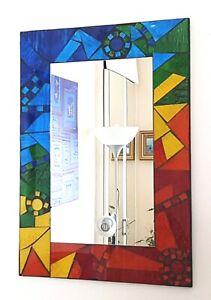 Rectangular mosaic wall mirror, rainbow design hand made in Bali, 42cm NEW