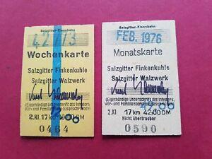 Fahrkarte Salzgitter-Eisenbahn Wochen und Monatskarte 1973 76