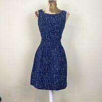Next Dress 10 Navy Aline Fit Flare Textured Sleeveless Round Neck Career Work