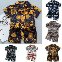 Summer Toddler Kids Baby Boys Floral Print Shirt Tops+Shorts Outfit Set Clothes