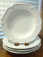 Set Of 4 White Porcelain Williams Sonoma Pillivuyt Eclectique Rimmed Soup Bowls