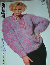 Original Patons Knitting Pattern Lady's Mohair Double Breasted Jacket No D8486