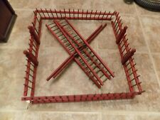 """Vintage Wooden Christmas Fencing Feather Tree Putz Train Red And Green 5"""" x 18"""""""