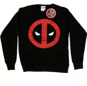New Womens Deadpool Clean Black Sweater Jumper Pullover  Sizes 6-14 xs - xl