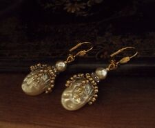 Vintage Baroque Pearl, Seed Beads Drop Pierced Earrings. Miriam Haskell StyleM
