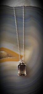 NEW 9.65cts Emerald-Cut, Bicolor Smoky Quartz/Golden Citrine Necklace, Platinum
