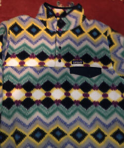 Rare Patagonia Womens Timber Twist Aztec Synchilla Snap T Fleece Pullover xl