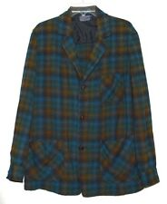 Vintage Pendleton Blue & Gold Plaid Mens Lightweight Wool Button Jacket Size M