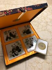 YI LIN ARTS & TREASURES CHINESE CERAMIC PANDA TILE COASTER SET BROCADE BOX