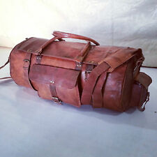 "22""Real leather handmade travel luggage vintage overnight weekend gym duffel bag"