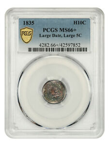 1835 H10c PCGS MS66+ (Large Date, Large 5C) Colorfully Toned Gem