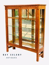 20TH C ANTIQUE ARTS & CRAFTS / MISSION OAK MIRRORED CHINA CABINET / BOOKCASE