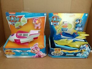 2x Paw Patrol Mighty Pups Super Paws Deluxe Vehicles Figure Skye & Chase