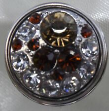 Brown Light brown and Crystal Cluster Noosa Style Snap Chunk Button