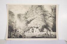 Louis Popineau Bacchanale lithographie 1913 Scène dans un parc Danseuses