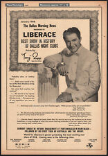 LIBERACE__Original 1958 Trade AD promo / poster__Best Show - Dallas Night Clubs