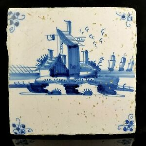 Antique Delft Windmill Pottery Tile dutch faience blue + white 17th 18th century
