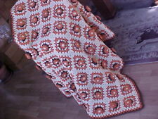 "VINTAGE HOMEMADE HAND CROCHET AFGHAN BLANKET WITH RAISED DESIGN 56""x 46"""