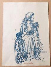"""Téophile Alexandre Steinlen """"Une femme et ses enfant debout"""" lithographie"""