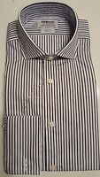 T M LEWIN 100 SLIM FIT NAVY STRIPE SHIRT COTTON CUTAWAY COLLAR 14.5-17 BNWOT