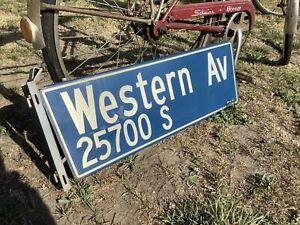 Vintage Los Angeles Porcelain Street Sign WESTERN AVE 25700 S.