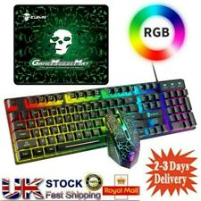 More details for usb wired gaming keyboard & mouse set rainbow led rgb backlight for pc laptop uk