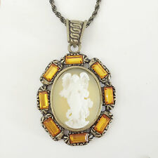 New Angel Cameo Citrine Brown Good Fortune Charm Pendant Chain Necklace NE1308