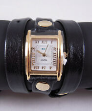 LA MER Watch Simple Black  Washed Leather Wrap Gold Square White Dial