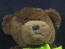 PROFLOWERS  BROWN TEDDY BEAR BLACK NOSE GREEN BOW STITCH PLUSH STUFFED ANIMAL