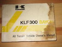 1988 88 KAWASAKI BAYOU KLF300 KLF 300 B1 ALL TERRAIN VEHICLE ATV OWNER'S MANUAL