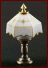 1:12 Scale Working 12 Volt Table Lamp White Tiffany Shade Dolls House Light 1018