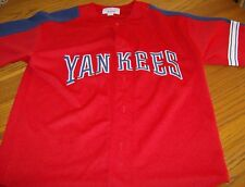 NEW YORK YANKEES - Authentic STARTER Baseball Jersey Red White Blue Youth Med