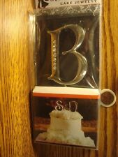 "WEDDING CAKE ""B"" Monogram Letter Wedding Cake Jewelry - Rhinestone Cake Topper"