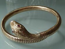 SUPERB 1950's 9CT GOLD SNAKE BANGLE BRACELET RUBY EYES  21.6GM CROPP & FARR