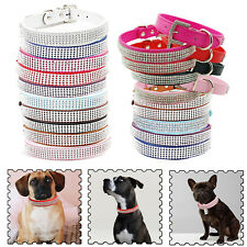 Dog Puppy Cat Leather Diamante Rhinestone Safety Collar Tag in Various Color