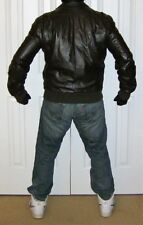 Members Only Leather Winter-weight Bomber Jacket - size 42 Long
