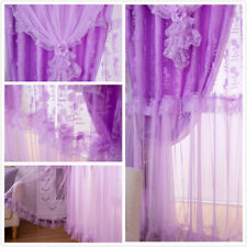 Blackout Princess Curtains Double-Layer Living Room Floral Tulle Drape Home Soft