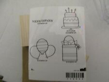 Stampin' Up! Wood Mounted Rubber Stamp Set of 4 BITTY BIRTHDAY-NEW